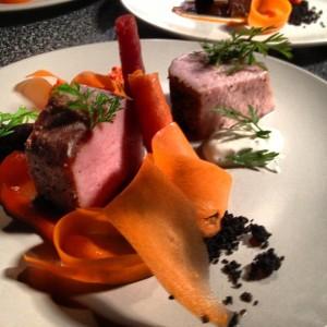 Pork loin, carrots in several ways, preserved lemon yogurt, black olive.